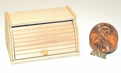Dollhouse Miniature Bread Box Wood Roll Top 1:12 Scale