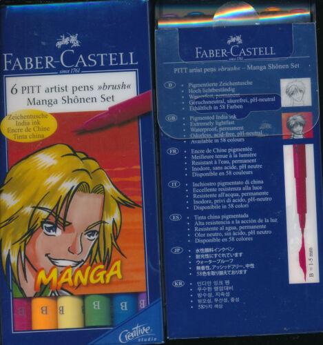Faber-Castell 6 Pitt Artist Pens Brush NEW Manga Shojo Kaoio Shonen Blue Neon