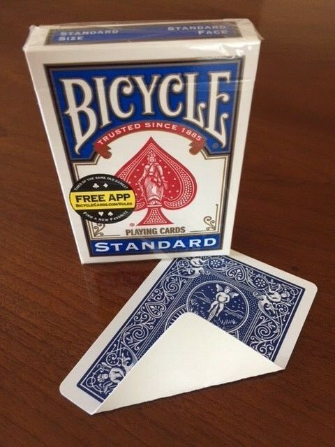 2 DECKS Bicycle STANDARD BLUE BACK-BLANK FACE gaff magic playing cards