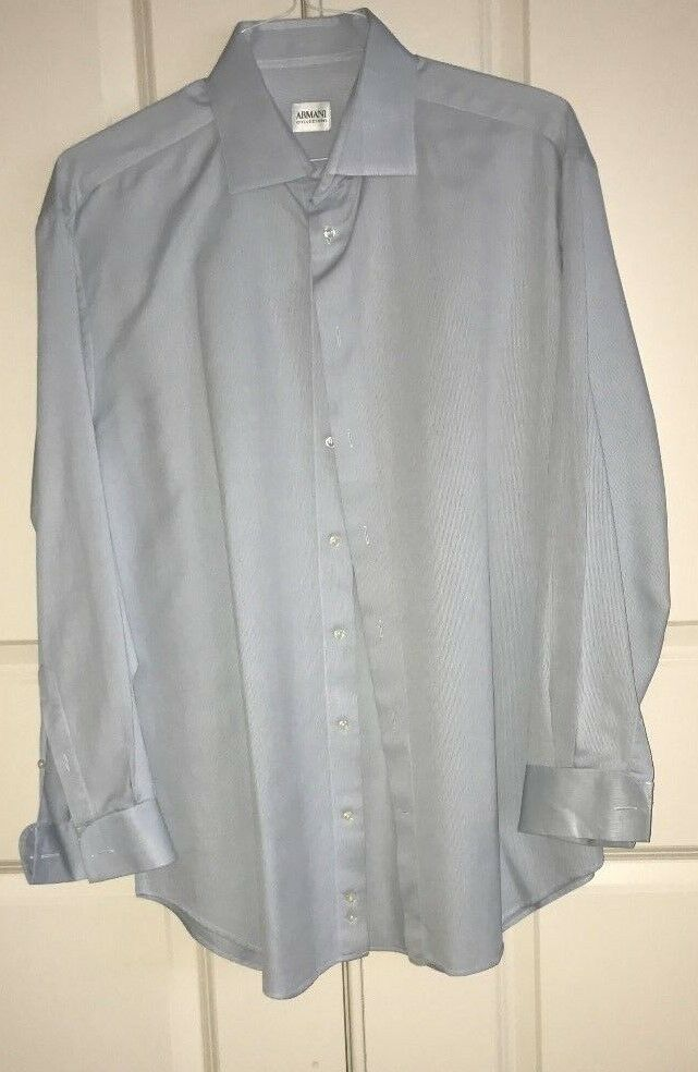 Armani Men's Shirt white bluee pinstripe long sleeve french cuffs