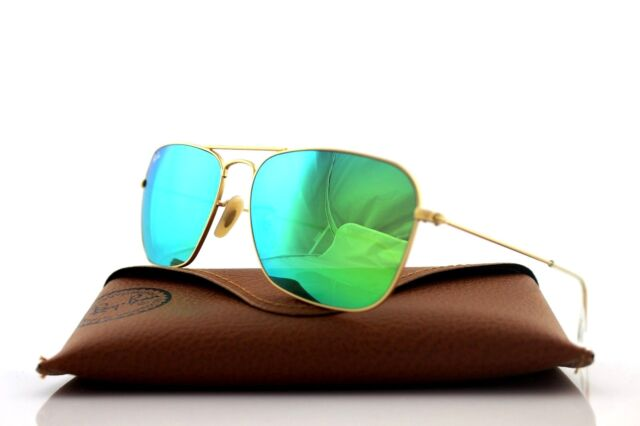 0b47c9a18ba25 NEW Authentic Ray-Ban CARAVAN Metal Gold Green Flash Sunglasses RB 3136 112  19
