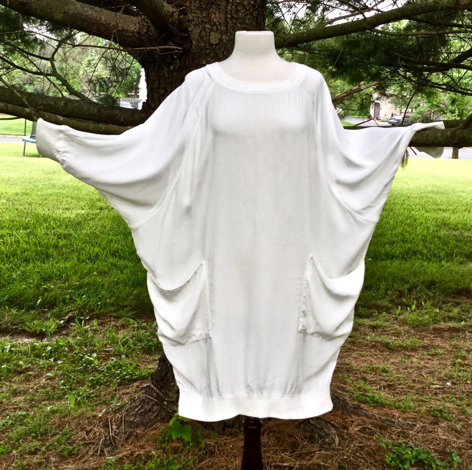 Free People Tunic Dress OverGrößed Weiß Drapy Dolman Sleeve Knit Trim L New