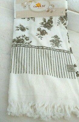 Goedkope Verkoop Clayre&eef Gäste-handtuch 60x40cm Rosen Weiss Braun Cottage Vintage Baumwolle Betrouwbare Prestaties