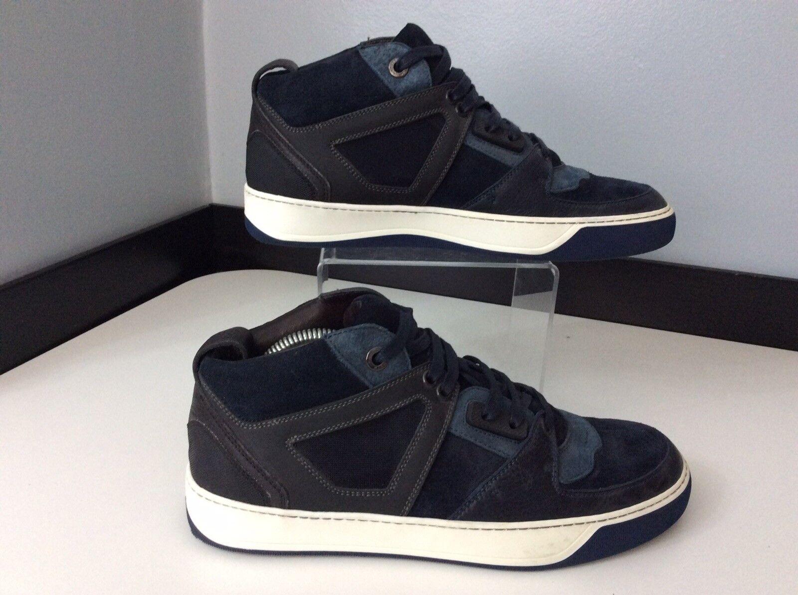 Lanvin Mens Hi Top Sneakers, Eu40, Runners, bluee, Leather