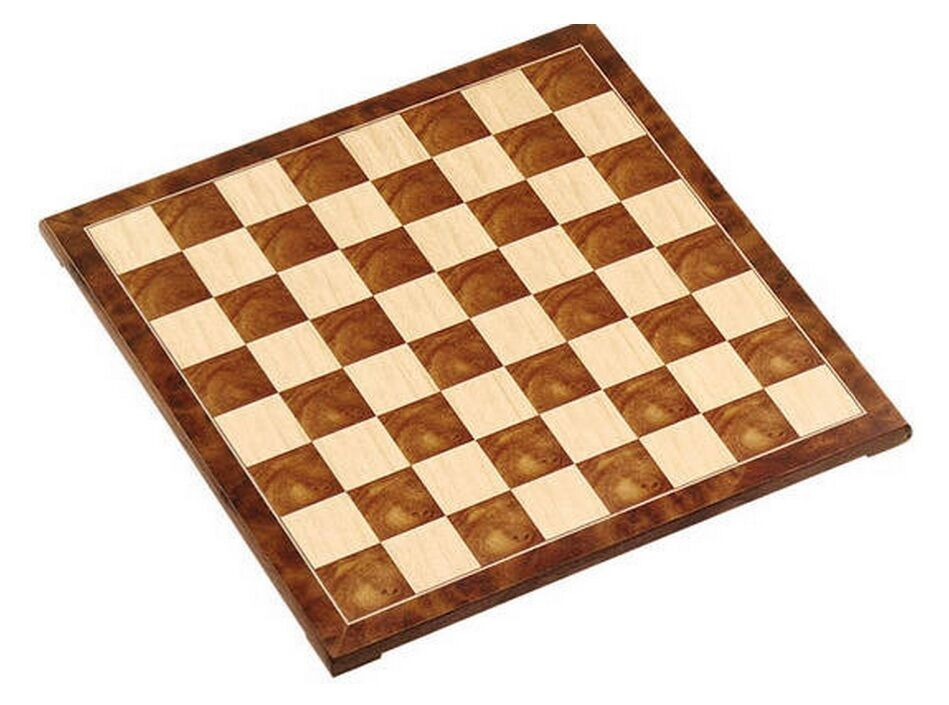 15  Fancy Polished Burl Wood Chess Board 1 5/8  Square Nuovo
