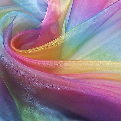 Rainbow Organza Voile Fabric Per Metre