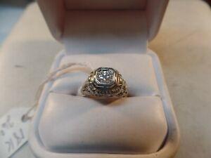 Estate-Antique-18k-White-Gold-round-brillant-Diamond-Solitaire-Filigree-Ring