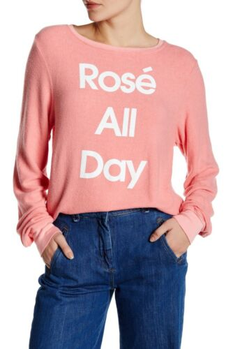 Wildfox Rose All Day Pink Pullover Sweatshirt Size XS S M L