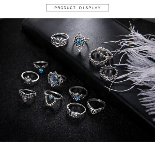 13pcs//Set Urban Rings Silver Crystal Above Knuckle stacking Band Midi Mid Ring