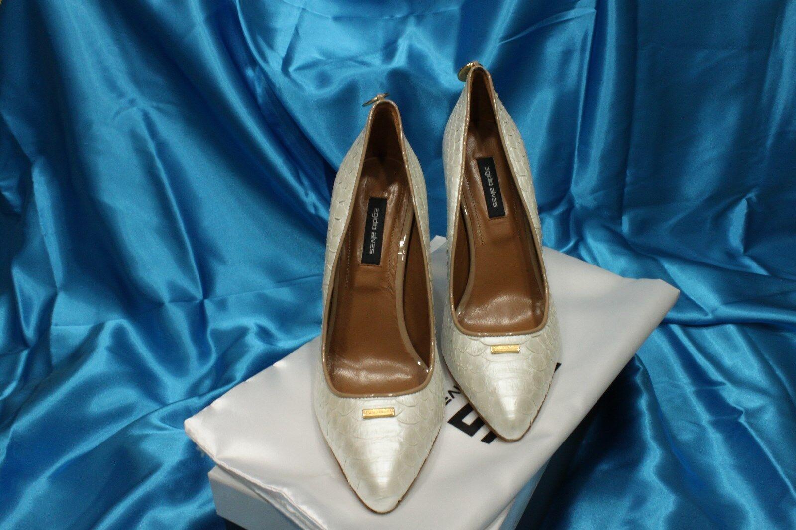 Zapatos de cuero por Egidio Egidio Egidio Alves UE tamaño 38,39 Natural blancoo Perla Piel de pitón  barato