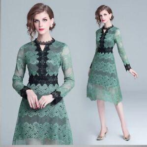 0c235d72f25f Caricamento dell immagine in corso vestito-mini-abito-tubino-morbido-verde- pizzo-evento-
