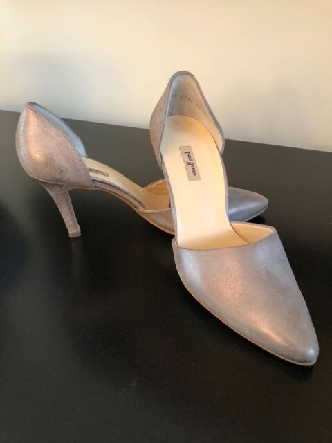 new product fb269 871ea Paul Green Char Heel Smoked Brushed Metallic D'Orsay Pump Size 9M $299.00