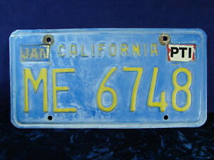 "1970's-80's California TRAILER License Plate ID Tag ""ME 6748"" CLEAR DMV!!"