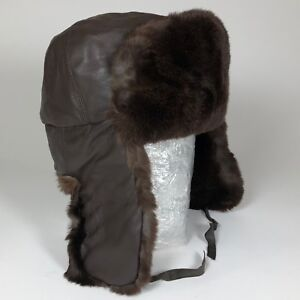 6778f140f2d Image is loading Vintage-Brown-Rabbit-Fur-and-LEATHER-Aviator-Trapper-