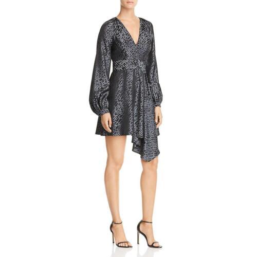 Equipment Femme Womens Alexandria Black Silk Mini Flounce Dress 4 BHFO 3502