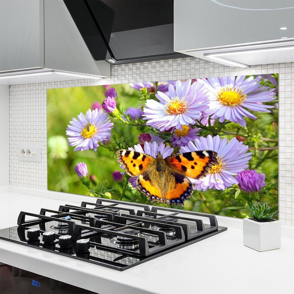 Crédence Crédence Crédence de cuisine en verre Panneau 140x70 Nature Fleurs Papillon b33689
