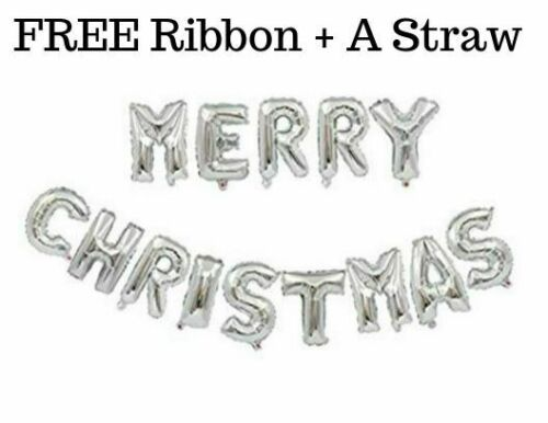"""16/"""" Merry Christmas Happy New Year Self Inflating Foil Balloon Banner Baloons..."""