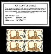 1960 - BOY SCOUTS OF AMERICA (BSA) -  Block of Four Vintage U.S. Postage Stamps