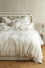 NWT Anthropologie King Soft-Washed Creme Linen Duvet and 2 King Shams