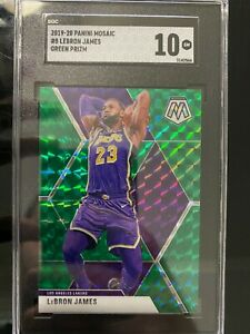 2019-20-Panini-Mosaic-Lebron-James-Green-8-GEM-MINT-SGC-10-Los-Angeles-Lakers