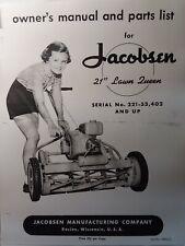 Jacobsen 21 Lawn Queen 1955 Walk Mower Owner Partsamp Service Manual 221 53402 Up