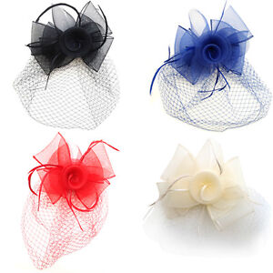 Image is loading Handmade-Flower-with-Feather-Netting-Clip-Fascinators -Wedding- b4aba49d345