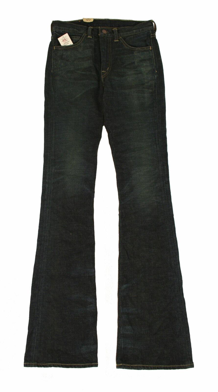 Damen Ralph Lauren Rrl Hohe Größe Schlaghose Kanten Jeans Neu