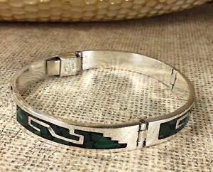 Vintage-Mexico-925-Sterling-Silver-Malachite-Gemstone-Bracelet-Fine-Jewelry