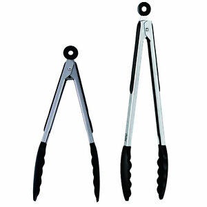2-X-Silicone-Tongs-9-034-amp-12-034-Non-slip-Grip-Cooking-Serving-Buffet-Oven-Salad-BBQ