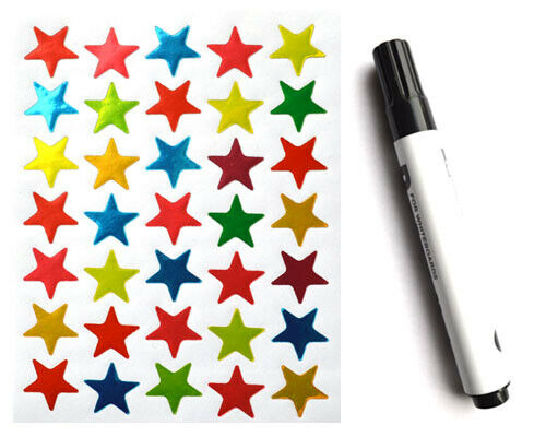 Kids Blue Reward Chart A4 Reusuable Sticker Star Chart Free Pen /& Stickers