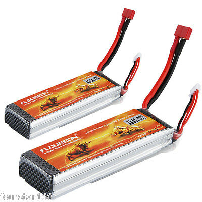 2X FLOUREON 11.1V 3000mAh 3S 30C Lipo Battery for RC Helicopter Truck Deans Plug