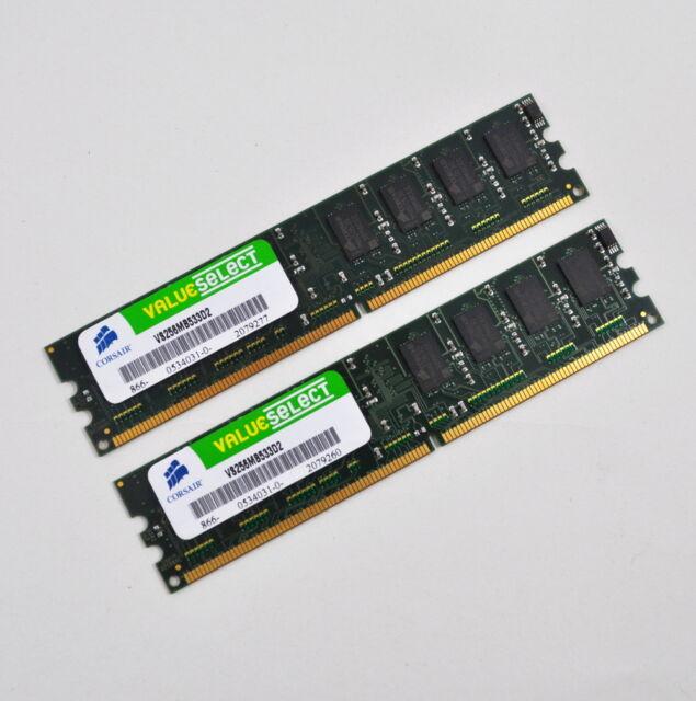 2 x Corsair VS256MB533D2 (256 MB, DDR2 SDRAM, 533 MHz, DIMM 240-pol.) RAM