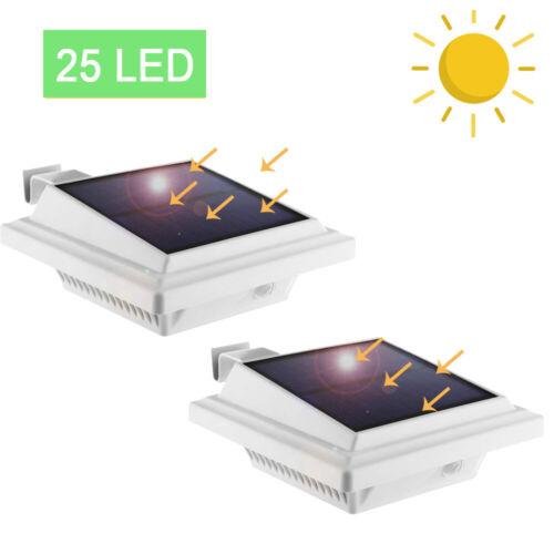 2x Kabellos LED Solarlampe für Dachrinnen Außen Garten Sicherheit Kaltweiß Licht