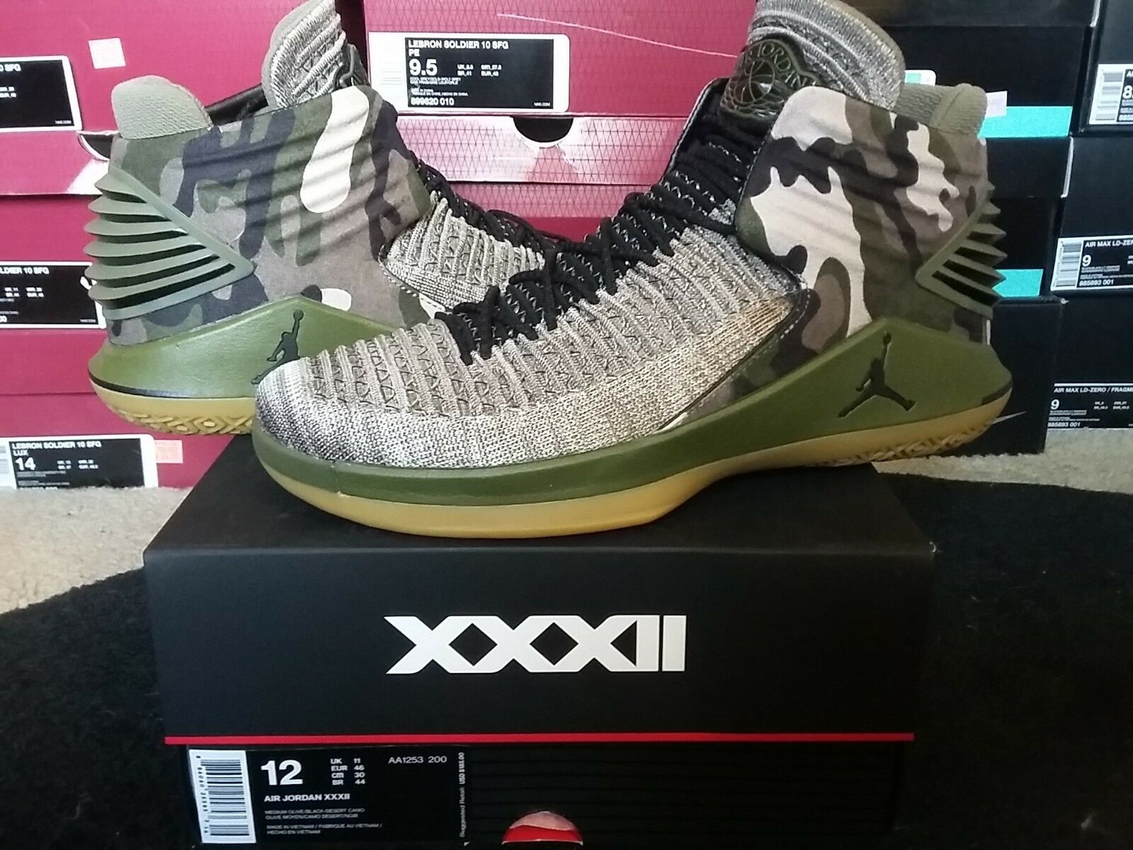 Nike Air Jordan XXXII 32 PE Veterans Day Unreleased Olive Desert Camo AA1253 200 The latest discount shoes for men and women