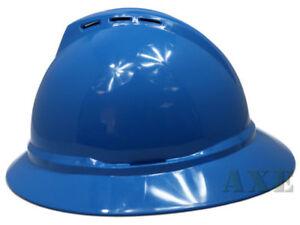 MSA-V-Guard-Full-Brim-Hard-Hat-Vented-4-Point-Ratchet-Suspension-Blue