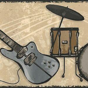 Rock guitars wallpaper border amps drums only 8 - Guitar border wallpaper ...