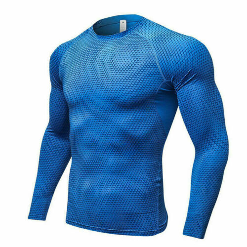 Mens Fitness Compression Jersey Quick-dry Tops Long Sleeve Sports Base Layer New