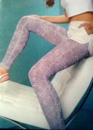Mura collant Leggings Lilac Flowers Design Light Purple 80 Den Size S