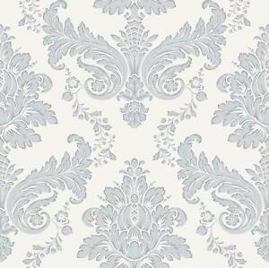 Alexander Damask Wallpaper Floral Ornament Silver Metallic Off