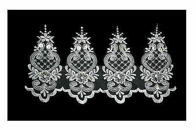 """Unotrim 6/"""" White Sheer Organza Bridal Beaded Sequins Embroidery Lace by Yard"""