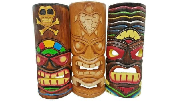 """39.5/"""" Handcarved Wood Two Face Tiki Mask Hawaiian Style With Vibrant Colors!"""