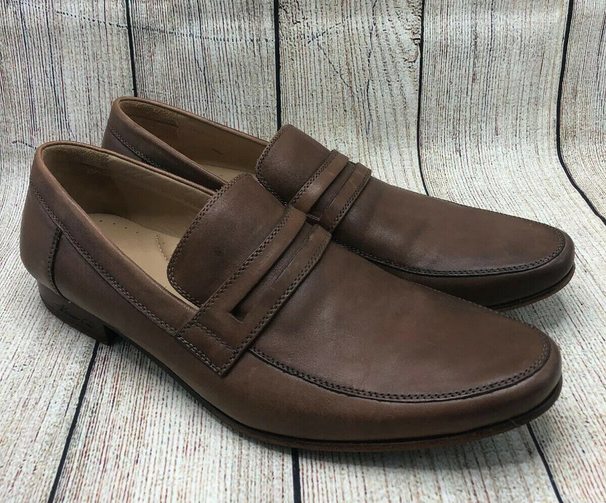 Kenneth Cole Brown Tan Leather Apron Toe Penny Strap Loafers Shoes Men's 11.5