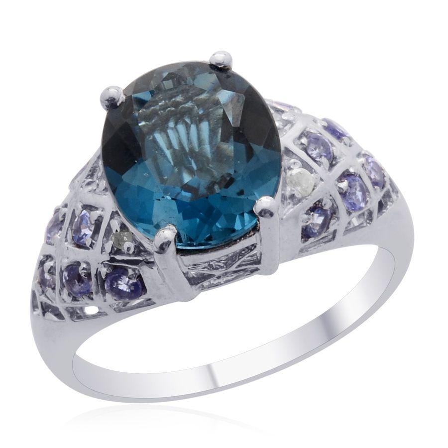 bluee Topaz, Tanzanite, Diamond Ring TGW 5.83 cts Size 10