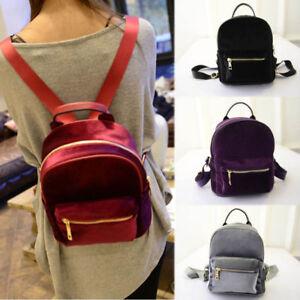 3d46b8ec9bd5 Image is loading Women-Girls-Velvet-Backpacks-Mini-Travel-School-Bookbags-