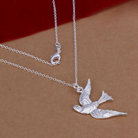 NEW Free Shipping 925 Sterling Silver Fashion Flying Bird Chain Necklace N151