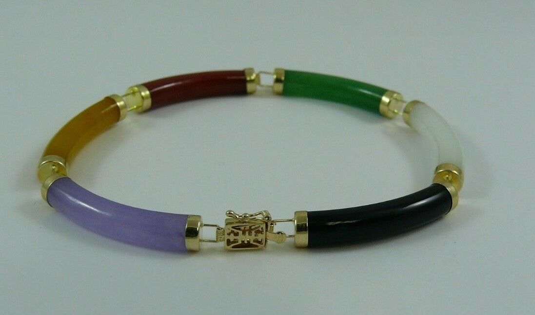 Multi-color Jade Bracelet 14k Yellow gold 7 1 4 Inches