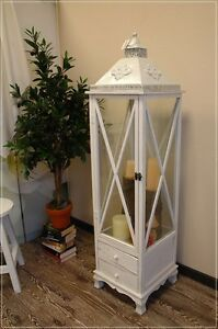 laterne laternenschrank wei holz mit 2 schubladen shabby chic g. Black Bedroom Furniture Sets. Home Design Ideas