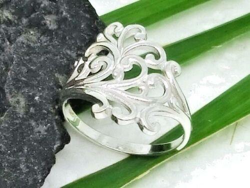 Rosario ornament 925 anillo de plata a través de patrones de rotura zarcillos Flores