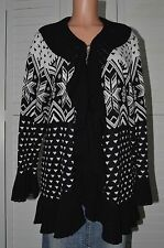 Style & Co. WOL 8046 Womens Black & White Knit Ruffled Cardigan Sweater Coat 3X