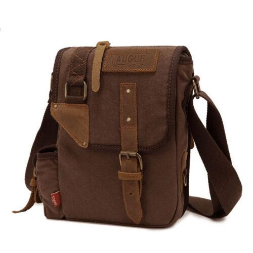 Brown Men/'s Vintage Canvas Sling Shoulder Bag Messenger Military Hiking Satchel